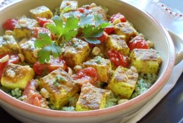Tofu marinado & Arroz com purê de coentro e tomate