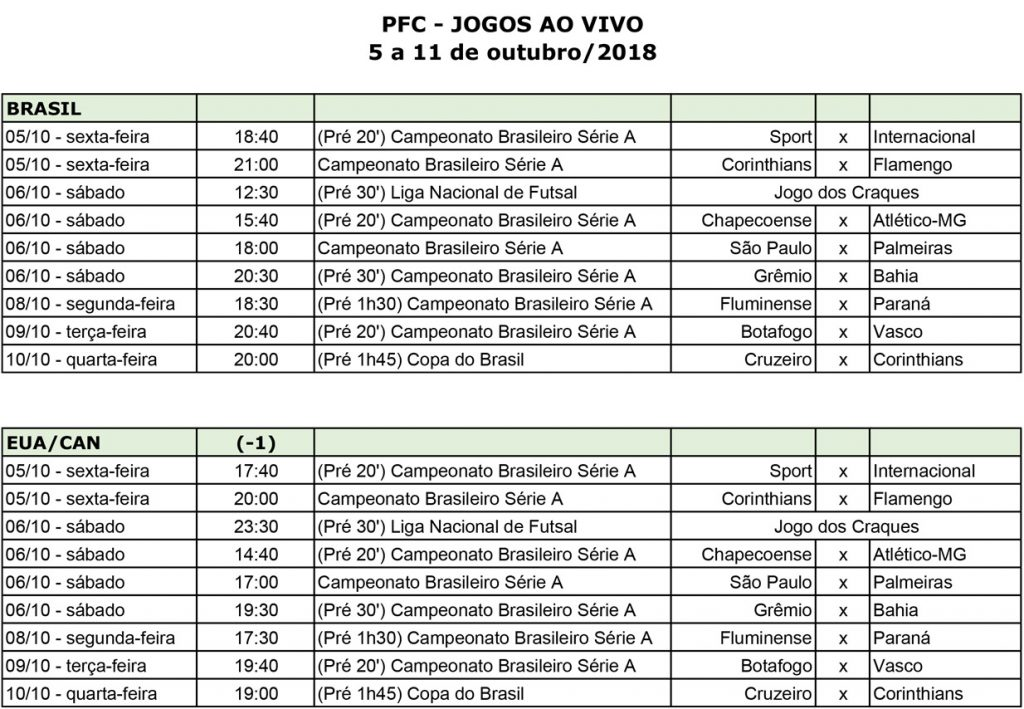PFC weeklylivegames PRESS 5 a 11 de out de 2018 002 PFC vai transmitir final da Copa do Brasil