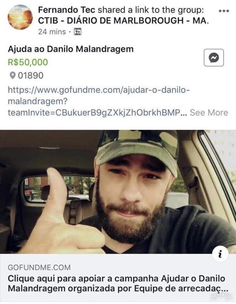 """Foto11 Danilo Portugal Ramscheid Suposta campanha para """"Malandragem USA"""" é retirada do GoFundMe"""