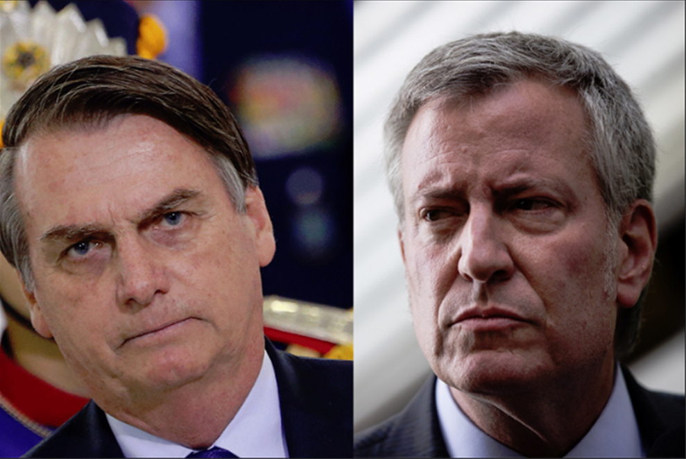 Foto22 Jair Bolsonaro e Bill de Blasio Bolsonaro é valentão que não aguenta um soco, diz Blasio